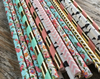 Pink teal gold birch floral girl teepee tee pee native BE BRAVE boho bow arrow paper straws birthday party baby shower aztec tribal first po