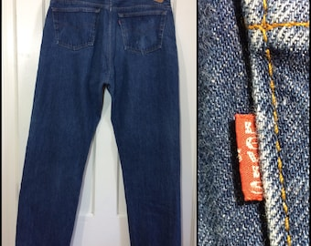 1980s Levi's 501 dark wash denim 42X32, measures 40x31 straight leg button fly blue jeans made in USA Boyfriend #330