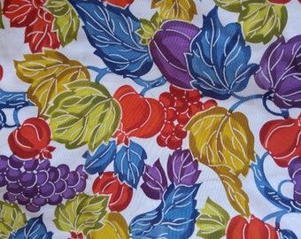 """Vintage Japanese white stiff silk kimono fabric  36"""" x 14"""" dyed design of autumn leaves 92 cm x 36 cm"""