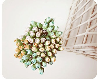 Mulberry Scrapbooking paper flower tiny mint and peach Buds for crafting, wedding decoration / pack