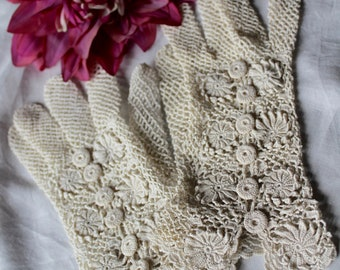 Delightful French Antique 1900s Off White Hand Crocheted Gloves / A Touch of Victorian Elegance / Wedding Special Occasion or Gift