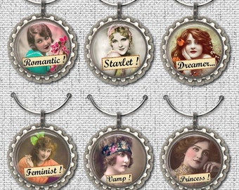 6 WINE GLASS CHARMS, Wine Charms, Vintage women , Words,  Hen party, Girls night, Bachelorette, Bottle cap, Wedding