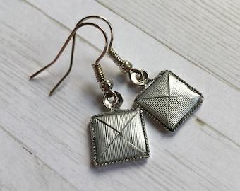 Origami Menko Bezel Earrings // Silver Stripes