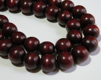 Chocolate Brown wood beads round 20mm full strand eco-friendly Cheesewood 1304NB