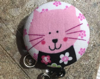Name badge fabric covered badge reels pink kitty design nurse name badge