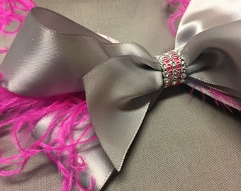 Gray and Pink Ostrich Feather Hair Bow