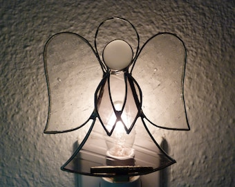 Angel Night Light, Gray Stained Glass, Religious, Guardian Angel, Handmade, Womens Teens Girls  Bedroom Bathroom Nursery Kitchen Decor