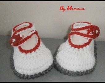 White grey red hand crocheted by me (0-3 months) baby ballerina booties