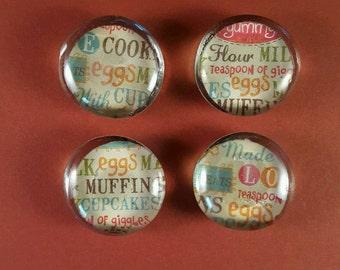 Food ingredients magnets, eggs, flour, sugar,muffin, cupcakes,  teaspoon