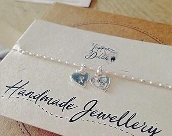 Heart Bracelet// Silver Heart Bracelet// Personalised Bracelet// Custom Bracelet//Stamped Hearts