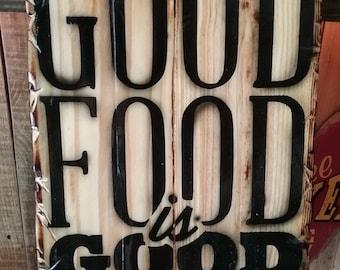 Good Food pallet sign
