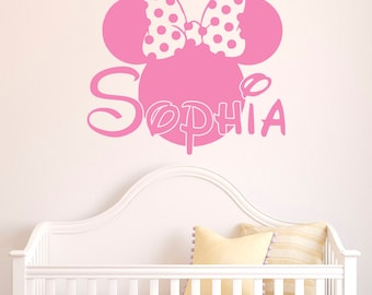 More colors. Girl Name Wall Decal- Minnie Mouse ...  sc 1 st  Etsy & Minnie mouse room decor | Etsy