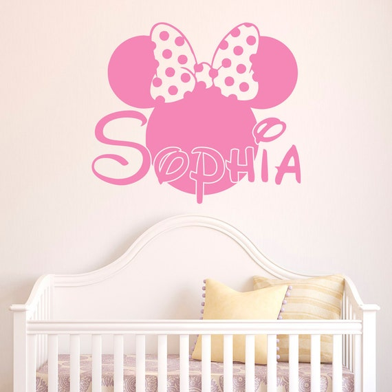 Girl Name Wall Decal Minnie Mouse Wall Decals Personalized
