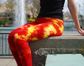 Tall Cosmic Red Yellow Tie Dye Leggings Including Extra Long and Plus Sizes by Splash Dye Activewear