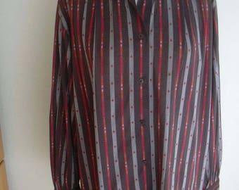 Blevle  West Germany Spades Striped Blouse L UK 16 US 12