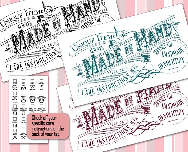Vintage Laundry Care Or Gift Tags O Washing Instructions On Back 5 Colors For Fiber Crafters