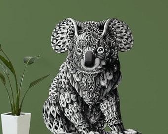 ON SALE Koala Bear Wall Sticker Decal – Ornate Animal Artwork by BioWorkZ