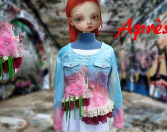 Denim jacket asymmetrical recycled, blue/pink tones entirely handpainted with lace