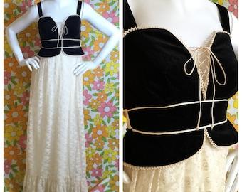80s Vintage Gunne Sax Style Prairie Maxi Dress Black Velvet Lace XS Small