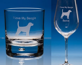 Beagle Wine Glass or Beagle Whiskey Glass, Personalised Gift, Dog Lover Gift, Beagle Glass, Beagle Gift, Beagle Engraved Glass, Beagle Dog