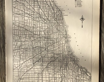 City of Chicago Map Wall Art / Vintage Map Decor / City Map of Chicago Illinois / Chicago Gift Street Map Print