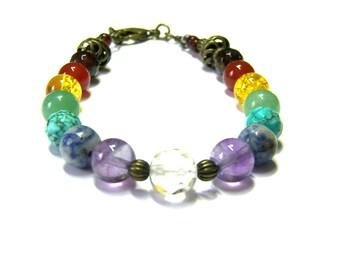 Hand Beaded Gemstone Chakra Bracelet, yoga bracelet, beaded bracelet amethyst citrine spiritual bracelet, gift for her, etsy chakra bracelet