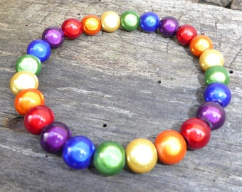 Hand Crafted Miracle Bead Rainbow 'Glow' Bracelet LGBT