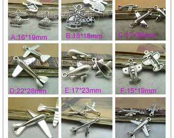 50pcs- Antique Silver aircraft Helicopter fighter Airplane Charms pendants Lovely aircraft Charm Pendant