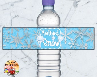 Printable melted snow water bottle label