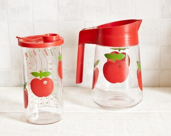 Set of 2 Henkel container, pitcher and measurer red apple decor - Red kitchen retro decor - Vintage 1970s seventies