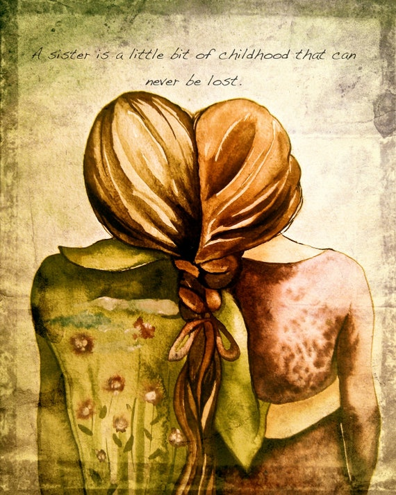 sisters  art print with quote