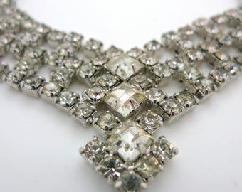 Vintage Rhinestone Foilback Sparkle Bib Statement Necklace