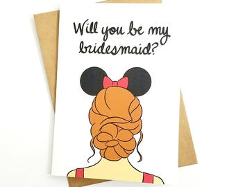 Disney Bridal Party Proposal Card | Blank 5x7 Greeting Card | Minnie Mouse Ears | Disneybound