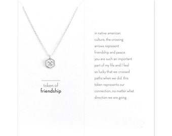 Handmade Carded Token Of Friendship Crossing Arrow Pendant Necklace