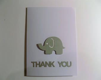 Elephant Thank You Baby Card, 12 Baby Shower Card, Welcome Baby Card, Baby Thank You Card, Thank You Baby Card, Baby Announcement