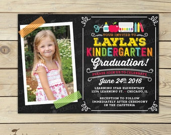 Kindergarten invite etsy kindergarten graduation invitation preschool graduation invitation end of school party invite graduation party stopboris Gallery