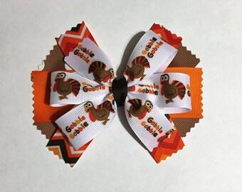 Thanksgiving Hair Bow, Pinwheel Hair Bow, Turkey Hair Bow