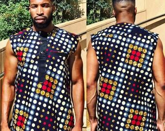 Men's Ankara Sleeveless shirt
