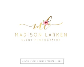 Premade Logo - Watercolor Logo - Logo Design - Photography Logo - Floral Flowers Logo - Blog Header - Gold Logo - Branding Kit Package
