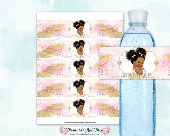 Water Bottle Labels African American Baby Girl Afro Puff