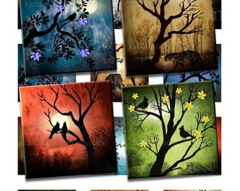 Instant Download - Grunge Nature Birds Animals Trees - Printable Original Art 2 inch squares Collage Sheet 116