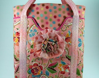 Huge Sale ... Spring Day Tote Bag and Fabric Flower Brooch PDF Sewing Pattern