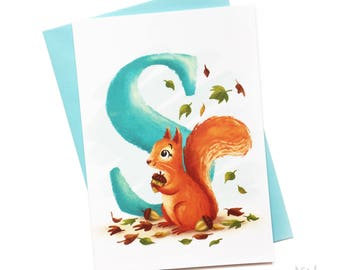 Illustrated - Alphabet Greeting Card - S is for Squirrel