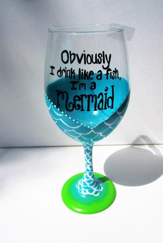 Hand Painted Wine Glasses Mermaid Wine Glass Painted Wine