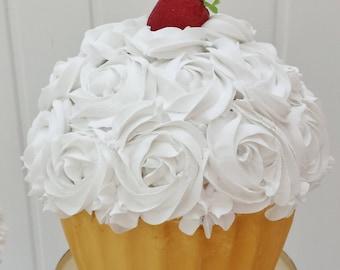 Rosette giant cupcake, fake cupcake, strawberry cupcake, vanilla cupcake