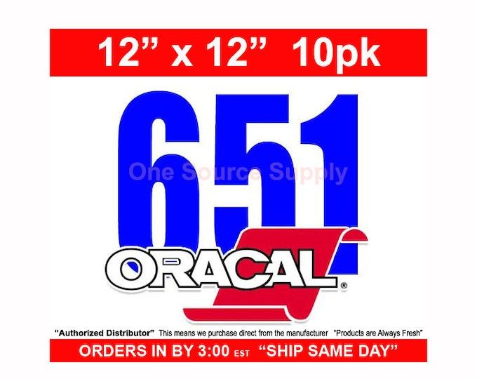 "12""x 12""* / 10-sheets / Oracal 651 Gloss Finish Vinyl - PSV- Craft Vinyl - Decal Vinyl"