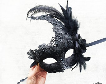 Masquerade Mask, Black Masquerade Mask,  Masquerade Ball Mask, Feather Masquerade Mask, Feather Mask, Black Mask with Feathers, Brocade Lace