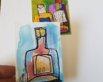 Bottle Duo - SET of two original aceo drawings