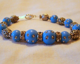 "Blue and Silver Sparkle Bracelet / 7"" / Small-Medium Size / Unique / OOAK / Gift for Her"