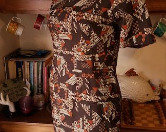 Amazing Mid Century Tiki Pattern Vintage Cheongsam